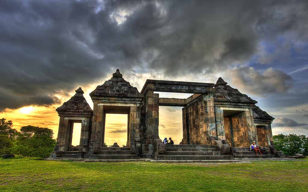 Ratu Boko palace view on sunset